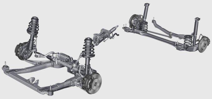 Сзади у седана - механизм Уатта с двумя реактивными тягами, идущими от продольных рычагов и соединёнными коромыслом через жёсткий центральный шарнир. Эта конструкция легче и дешевле многорычажки, но по поведению близка к ней. Вдобавок такое решение позволяет снизить поперечные нагрузки на сайлентблоки. В итоге ради комфорта их можно сделать мягче. Передняя подвеска – шаблон автомобилей C-класса: алюминиевые рычаги и стойки McPherson