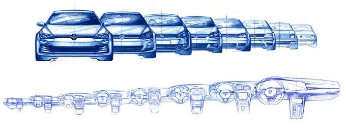 Эволюция дизайна кузова и салона от первого до восьмого поколения VW Golf